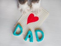 Belles pattes du ` s de chat, carte de voeux avec le coeur peint et rouge Photographie stock libre de droits