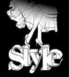 Belles pattes femelles Pattes avec de hauts talons Femme dans une robe Croquis de mode sur le fond noir illustration de vecteur