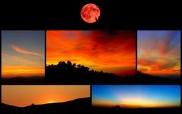 Belles photos des couchers du soleil et de la lune rouge Image libre de droits