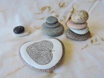 Belles pierres et une avec le squelette de feuille Photos libres de droits