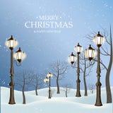 Belles rétros lumières en parc d'hiver Fond de Noël Images libres de droits