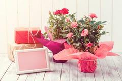 Belles roses dans un pot avec une carte de voeux vierge sur le fond en bois rustique blanc Photo libre de droits