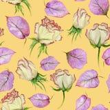 Belles roses et feuilles sur le fond jaune Configuration florale sans joint Peinture d'aquarelle Photographie stock