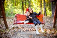 Belles soeurs en stationnement d'automne Photographie stock