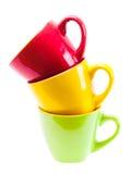 Belles tasses de couleur jaune, rouge, verte Image stock