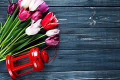 Belles tulipes violettes roses colorées et lanterne rouge sur le fond en bois gris Valentines, fond de ressort Moquerie florale  image stock