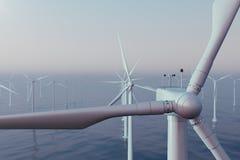 Belles turbines de vent de coucher du soleil en mer, océan Énergie propre, énergie éolienne, concept écologique rendu 3d illustration stock