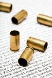Bellet shells over Iraqi cities. Bullet shells over names of various major Iraqi cities Stock Photo