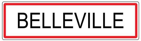 Belleville city traffic sign illustration in France Stock Photography