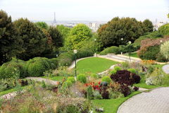 Belleville Park in Paris. View of Paris from Belleville district Royalty Free Stock Photography