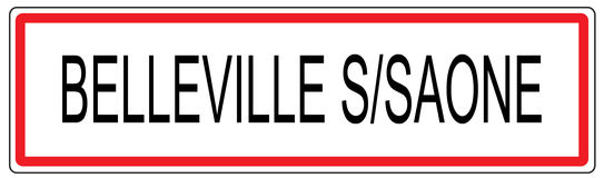 Belleville sur Saone city traffic sign illustration in France Stock Photos