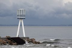 Bellevue Beach lifeguard tower Stock Images