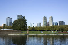 Bellevue downtown park. Bellevue, Microsoft's headquarter, 8 miles away from Seattle, is a beautiful brand new city full of energy Stock Photography