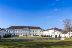 Bellevue Palace Schloss Bellevue in Berlin, Germany. Bellevue Palace Schloss Bellevue in Berlin, official residence of the President of Germany. Spring sunny day stock photo