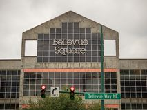 Bellevue Square shopping center sign above entrance to shopping plaza royalty free stock photos