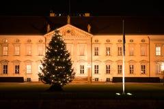 Bellevue y árbol de navidad del castillo Imagen de archivo