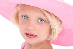 Belleza americana en un sombrero rosado grande fotografía de archivo