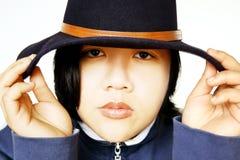 Belleza asiática con el sombrero fotografía de archivo libre de regalías