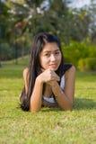 Belleza asiática en el parque Fotos de archivo libres de regalías