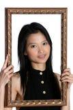 Belleza asiática en un marco Imágenes de archivo libres de regalías