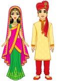 Belleza asiática Familia india de la animación en ropa tradicional ilustración del vector