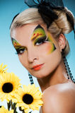 Belleza con cara-arte de la mariposa Imágenes de archivo libres de regalías