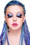 Belleza con el pelo azul Fotos de archivo