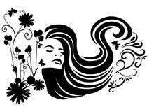 belleza con el soplo del viento ilustración del vector