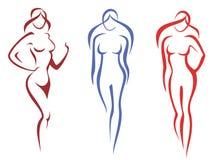 Belleza, concepto de la manera. conjunto de silhoettes de la mujer Fotografía de archivo
