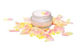 Belleza cosmética poner crema del cuidado de piel orgánica Imagen de archivo
