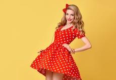 Belleza de la manera Sonrisa modela de la muchacha Polca Dots Dress Fotografía de archivo