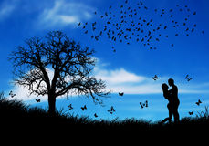 Belleza de resorte con los pares cariñosos en naturaleza libre illustration