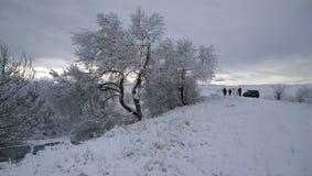 Belleza del caucausus del invierno de las montañas de la naturaleza alta fotos de archivo