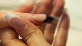 Belleza del estudio Cierre femenino de la manicura de los clavos de las manos para arriba almacen de video