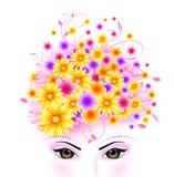 Belleza del pelo de los ojos y de las flores stock de ilustración