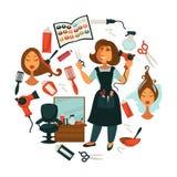 Belleza del pelo o cartel del salón del peluquero de la mujer para el teñido profesional del pelo, stock de ilustración