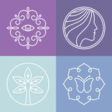 Belleza del vector y línea logotipos del balneario Fotografía de archivo
