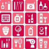 Belleza e iconos de los cosméticos Fotografía de archivo libre de regalías