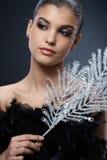 Belleza elegante con los accesorios del partido Foto de archivo libre de regalías