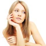 Belleza femenina - mujer con el pelo rubio Imagenes de archivo
