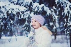 Belleza Girl modelo alegre que se divierte en parque del invierno fotografía de archivo libre de regalías