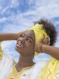 Belleza joven del Afro vestida para una celebración Imagen de archivo libre de regalías