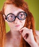 Belleza nerdy pecosa Fotos de archivo libres de regalías