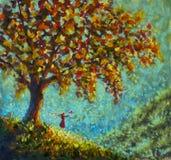 Belleza original del símbolo de la pintura al óleo de la naturaleza - mujer de la muchacha en pájaro rojo de la paloma de los lan fotos de archivo