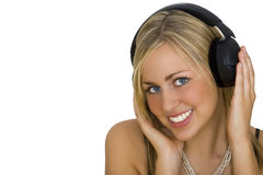 Belleza que escucha Imagen de archivo libre de regalías