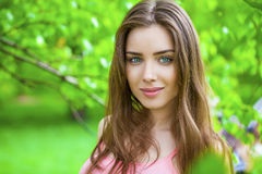Belleza rusa - muchacha morena joven en un abedul blanco Imagen de archivo