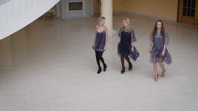 Belleza tres que da un paseo a través del cuarto vacío Uno de ellos llevó un vestido sexy, dos otros vestidos vestidos las muchac metrajes