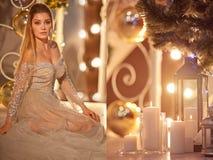 Belleza Woman modelo cerca del Año Nuevo de la celebración del árbol de navidad Fotografía de archivo libre de regalías