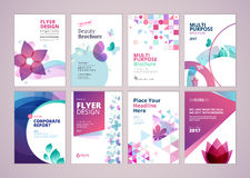 Belleza y diseño de la cubierta del folleto de los productos de la salud y colección de las plantillas de la disposición del avia