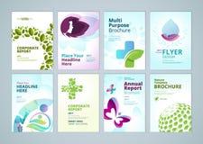 Belleza y diseño de la cubierta del folleto de los productos naturales y colección de las plantillas de la disposición del aviado